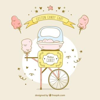 Hand gezeichneten süßigkeiten baumwollwagen mit konfetti