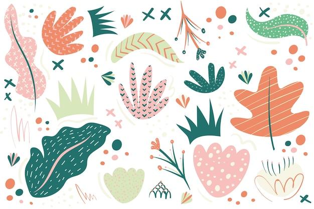 Hand gezeichneter abstrakter hintergrund mit organischen formen