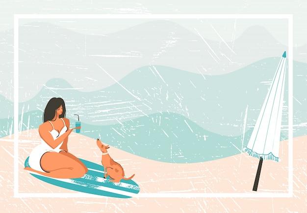 Hand gezeichneter abstrakter karikatur-sommerzeitspaß-retro-weinlesehintergrund mit mädchen, surfbrett, hund und regenschirm auf sandufer.