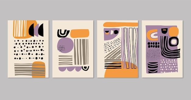Hand gezeichneter abstrakter kunstabdeckungssatz