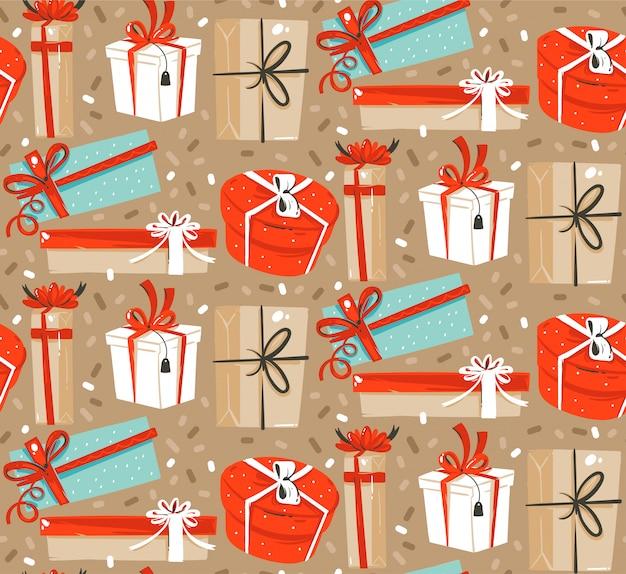 Hand gezeichneter abstrakter spaß frohe weihnachten und frohes neues jahr-karikatur rustikales festliches nahtloses muster mit niedlicher illustration von überraschungsgeschenkboxen und konfetti auf pastellhintergrund.