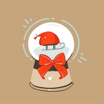 Hand gezeichneter abstrakter spaß frohe weihnachten und frohes neues jahr zeit cartoon illustration grußkarte mit weihnachten schneeglas globus und schlitten mit geschenkboxen auf handwerk hintergrund.