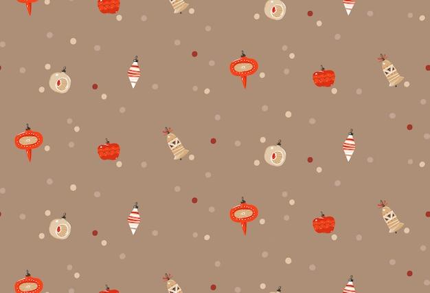 Hand gezeichneter abstrakter spaß frohe weihnachten und glückliches neues jahr karikatur rustikales festliches nahtloses muster mit niedlichen illustrationen von weihnachtsbaumspielzeugbirnengirlande auf pastellhintergrund.