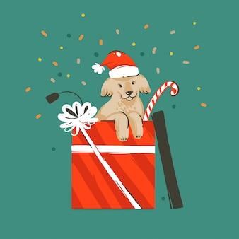 Hand gezeichneter abstrakter spaß frohe weihnachten und glückliches neues jahr-zeitkarikaturillustrations-grußkarte mit niedlichem lustigem weihnachtshund in geschenkbox und konfetti auf grünem hintergrund