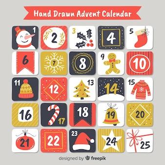 Hand gezeichneter adventskalender