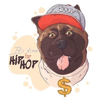 Hand gezeichneter akita rapper hund