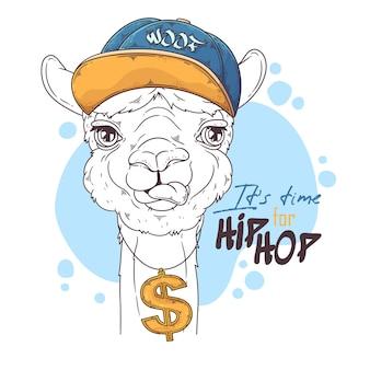 Hand gezeichneter alpaka-rapper mit zubehör Premium Vektoren