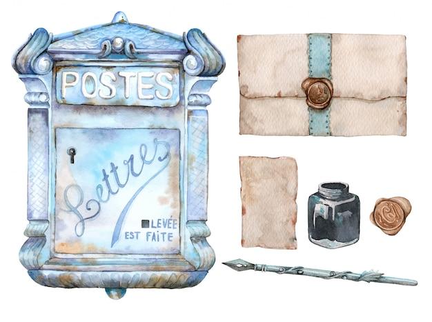 Hand gezeichneter aquarellsatz des weinlesebriefkastens, der buchstaben, des tintenfasses und des retro- stiftes