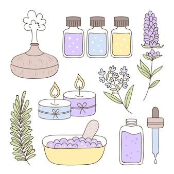 Hand gezeichneter aromatherapie-elementsatz