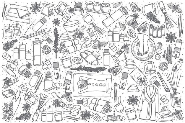 Hand gezeichneter aromatherapie-gekritzelsatz