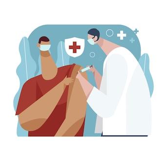 Hand gezeichneter arzt, der einem patienten impfstoff injiziert
