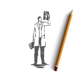 Hand gezeichneter arzt mit röntgenstrahl