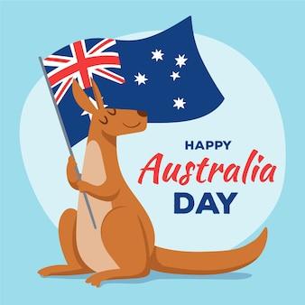 Hand gezeichneter australien-tag mit känguru und flagge