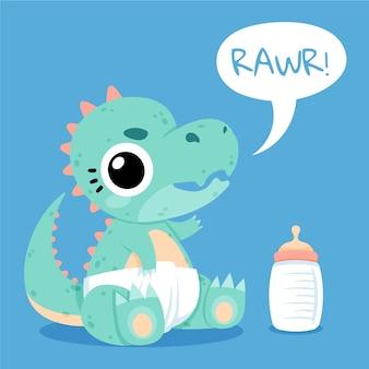 Hand gezeichneter baby-dinosaurier illustriert