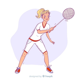 Hand gezeichneter badmintonspieler mit einem schläger