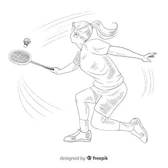 Hand gezeichneter badmintonspieler mit schläger