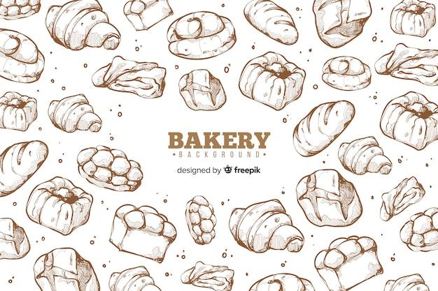 Hand gezeichneter bäckereihintergrund
