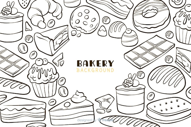 Hand gezeichneter bäckereilebensmittelhintergrund