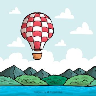 Hand gezeichneter ballon mit weinleseart