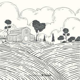 Hand gezeichneter bauernhoflandschaftshintergrund