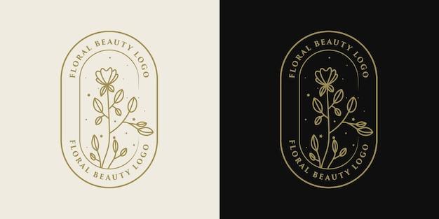 Hand gezeichneter blumen-botanischer logo-rahmen