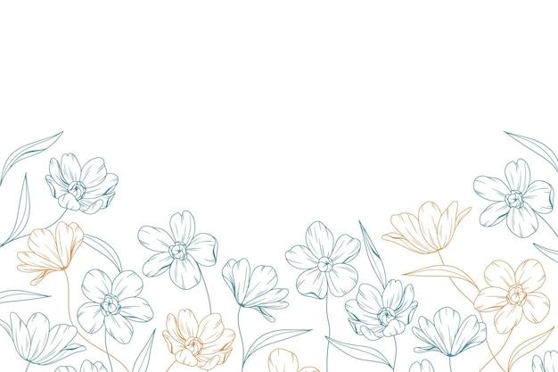 Hand gezeichneter blumenhintergrund mit kopienraum