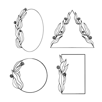 Hand gezeichneter blumenrahmensatz