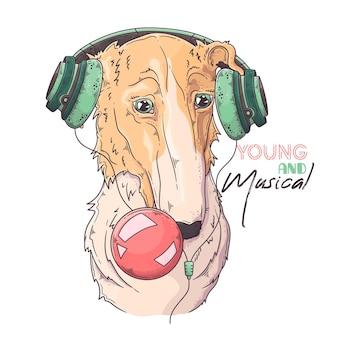 Hand gezeichneter borzoi-hund bläst einen kaugummi auf