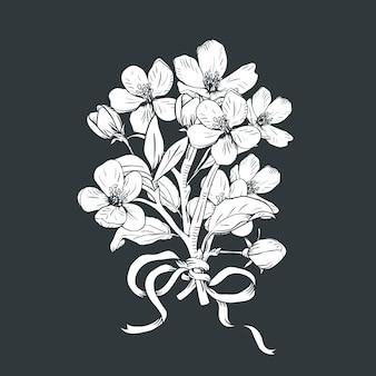 Hand gezeichneter botanischer blütenniederlassungsblumenstrauß auf schwarzem hintergrund.