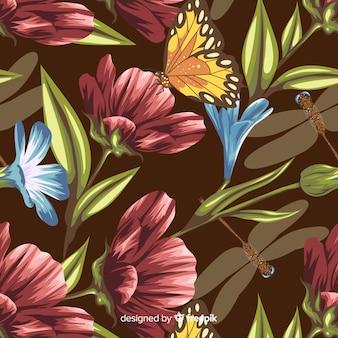 Hand gezeichneter botanischer hintergrund der weinlese