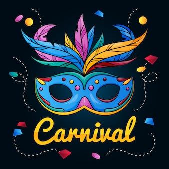 Hand gezeichneter brasilianischer karneval mit bunter maske
