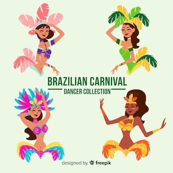 Hand gezeichneter brasilianischer karnevalstänzersatz