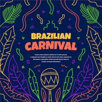 Hand gezeichneter bunter brasilianischer karneval