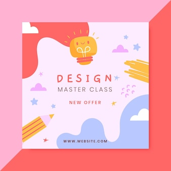 Hand gezeichneter bunter design-facebook-beitrag