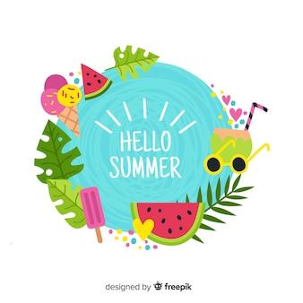 Hand gezeichneter bunter hallo sommerhintergrund