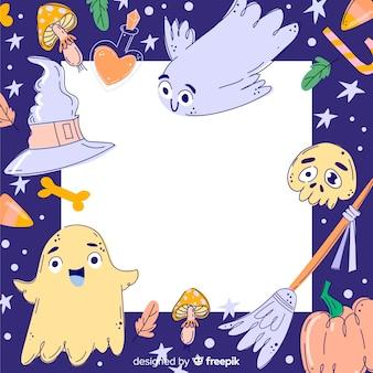 Hand gezeichneter bunter halloween-rahmen