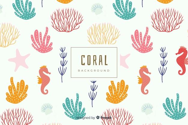 Hand gezeichneter bunter korallenroter hintergrund