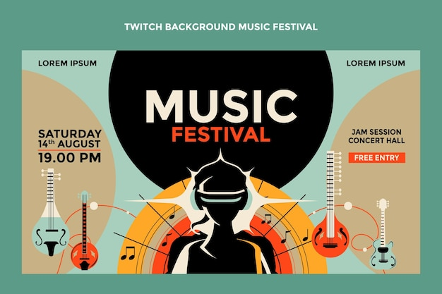 Hand gezeichneter bunter musikfestivalzuckenhintergrund