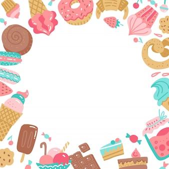 Hand gezeichneter bunter runder rahmen von süßen süßigkeiten.