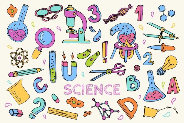 Hand gezeichneter bunter wissenschaftlicher bildungshintergrund