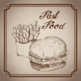 Hand gezeichneter burger und schnellimbiß der pommes-frites