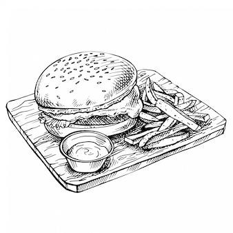Hand gezeichneter cheeseburger auf holz. skizze big humburger mit schnitzel, käse, tomaten, salat. amerikanisches essen.