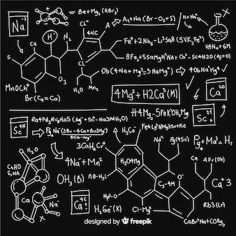 Hand gezeichneter chemiehintergrund auf tafel