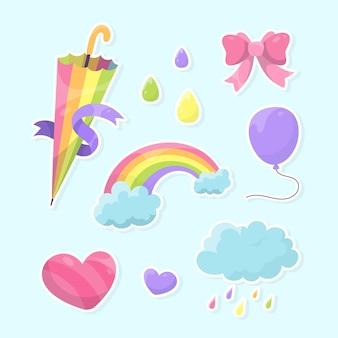 Hand gezeichneter chuva de amor dekorationselementsatz