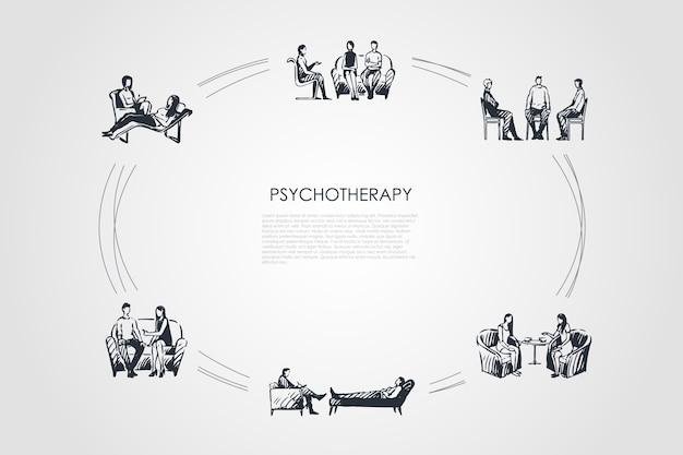 Hand gezeichneter cicle der psychotherapie