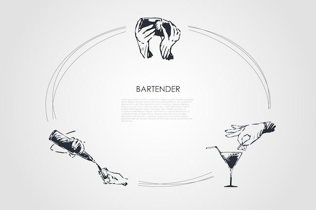 Hand gezeichneter cicle des barkeepers