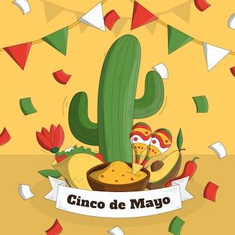 Hand gezeichneter cinco de mayo-kaktus und maracas