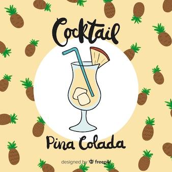 Hand gezeichneter cocktailhintergrund