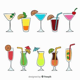 Hand gezeichneter cocktailsatz