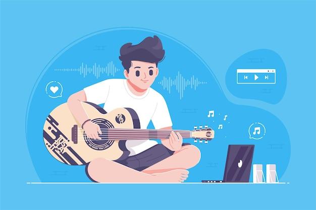 Hand gezeichneter cooler junge, der gitarrenillustration spielt